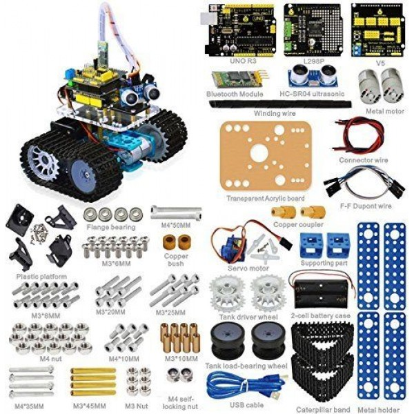 Keyestudio Bluetooth Mini Tank Robot Smart Car Kit Aluminum Frame for Arduino